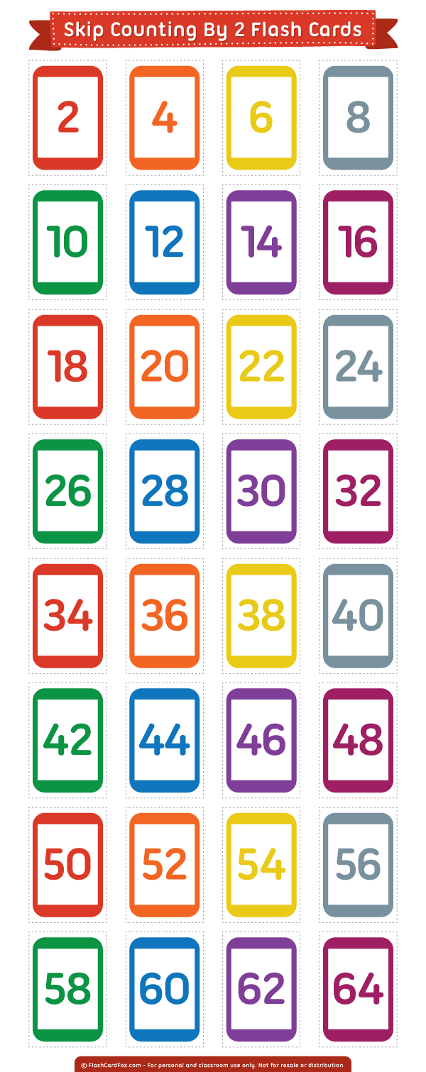 Free Printable Skip Counting2 Flash Cards. Download Them