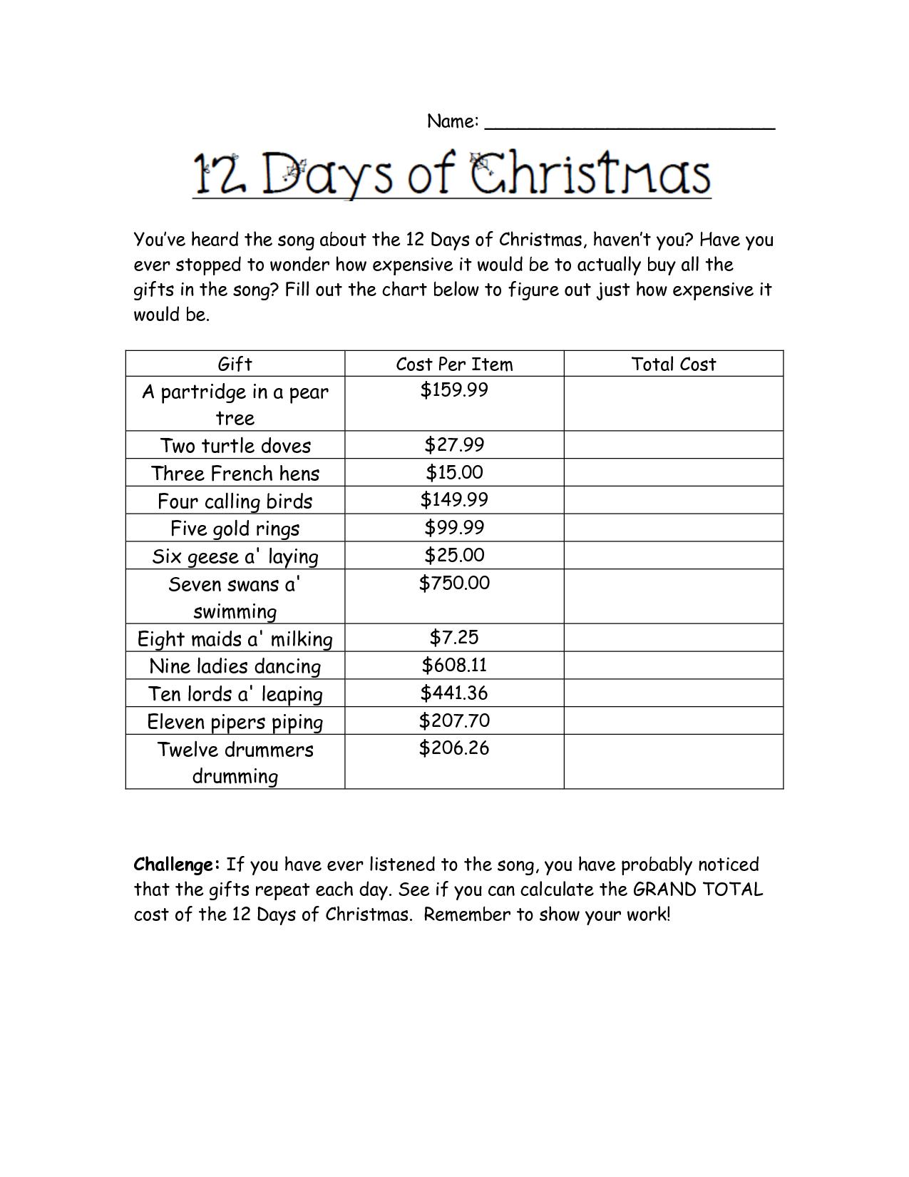 Holiday Math Worksheets | Cost Of Christmas Worksheet