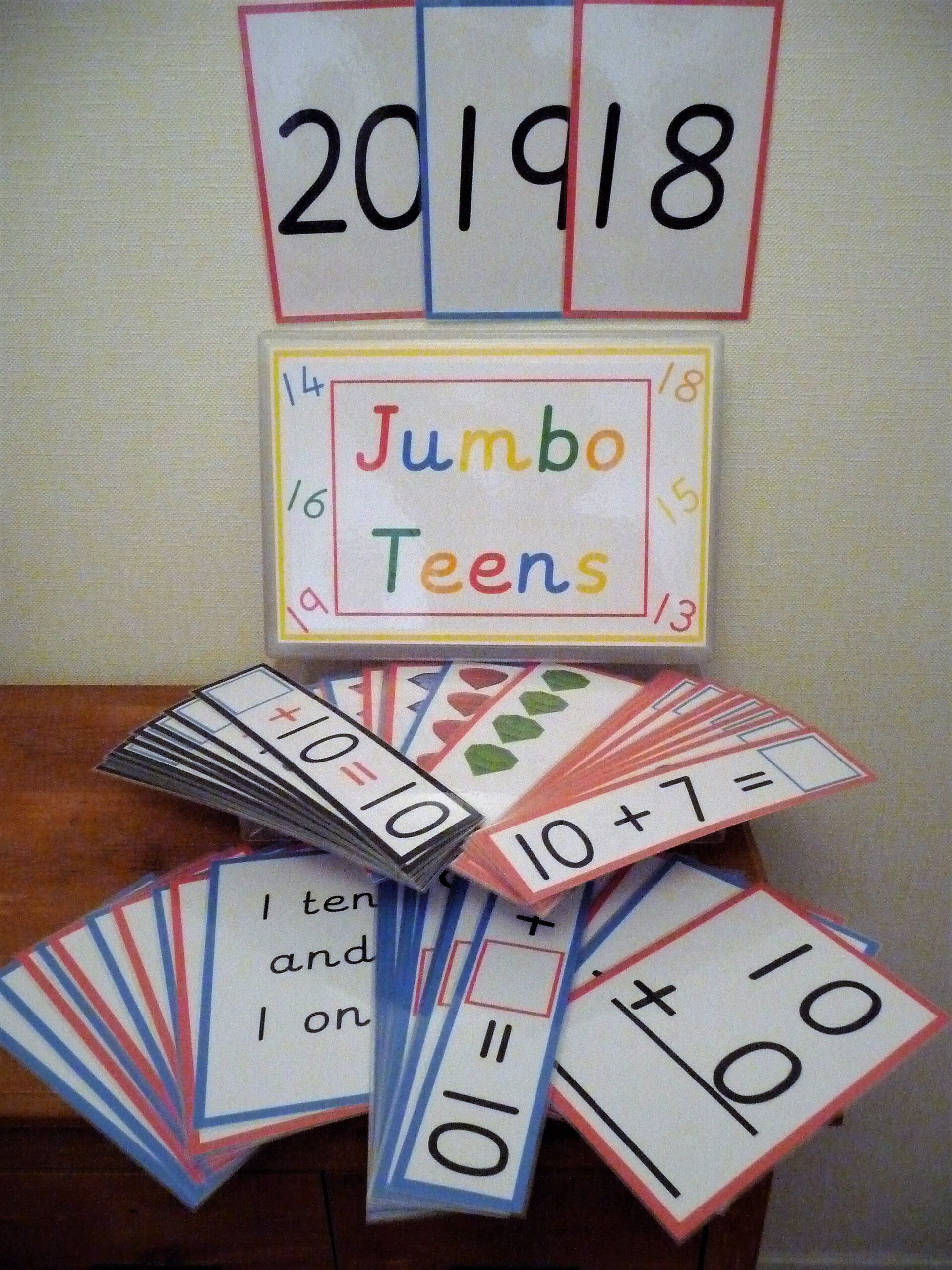 Jumbo Teens Box Consists Of Giant Number Flash Cards 10-20