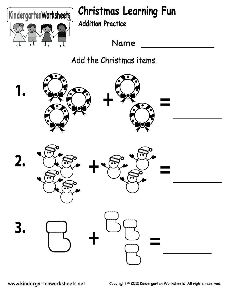 Kindergarten Christmas Addition Worksheet Printable