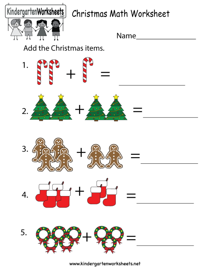 Printable Kindergarten Christmas Math Worksheets