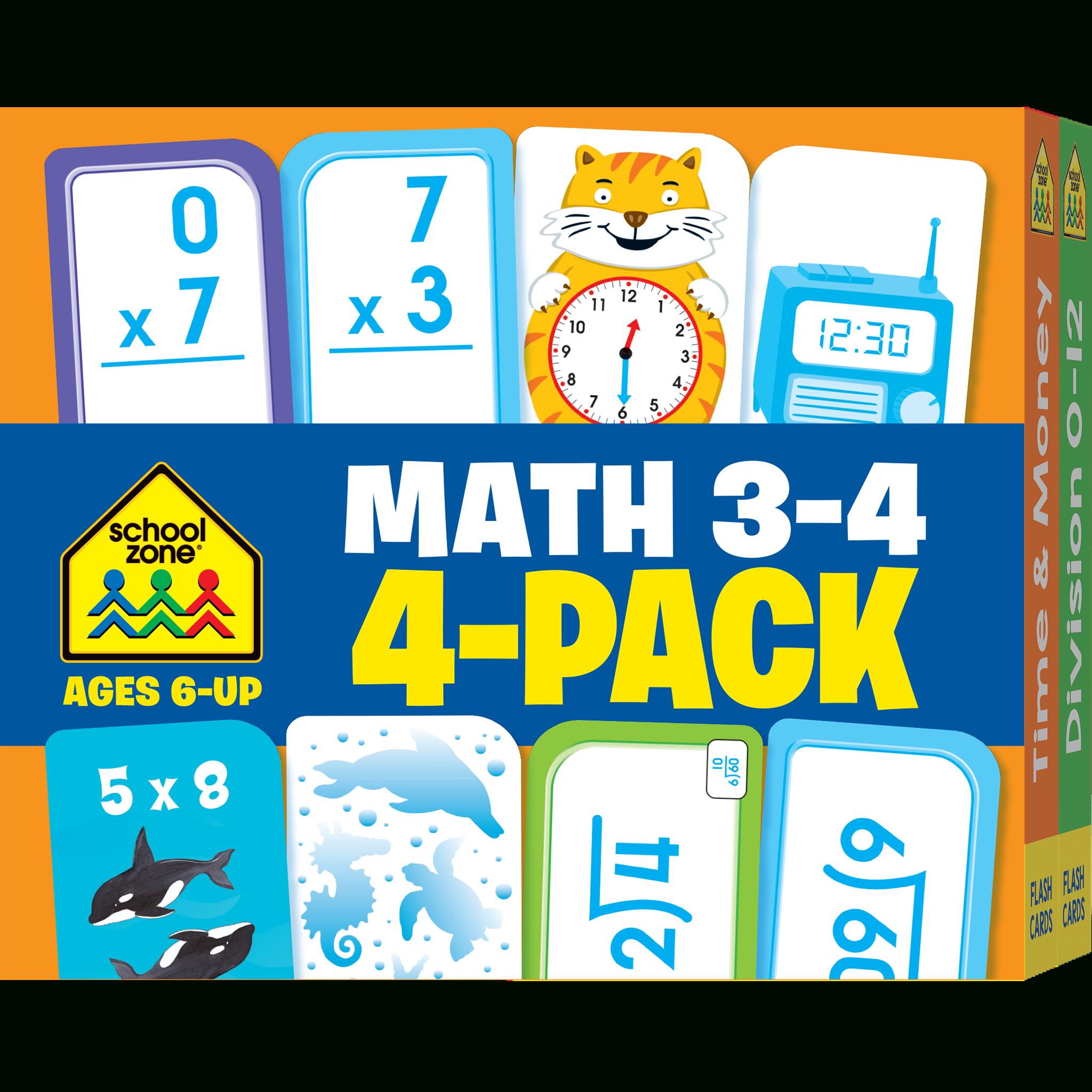 Math Grades 3-4 Flash Cards 4-Pack