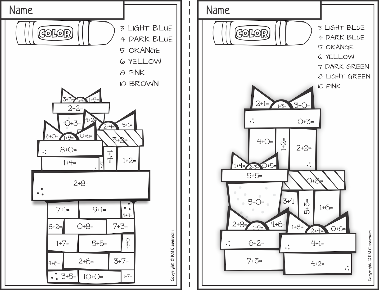 Math Worksheet : Free Christmas Colornumber Addition