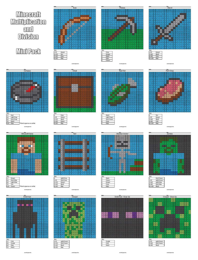 Minecraft Multiplication And Division   Coloring Squared
