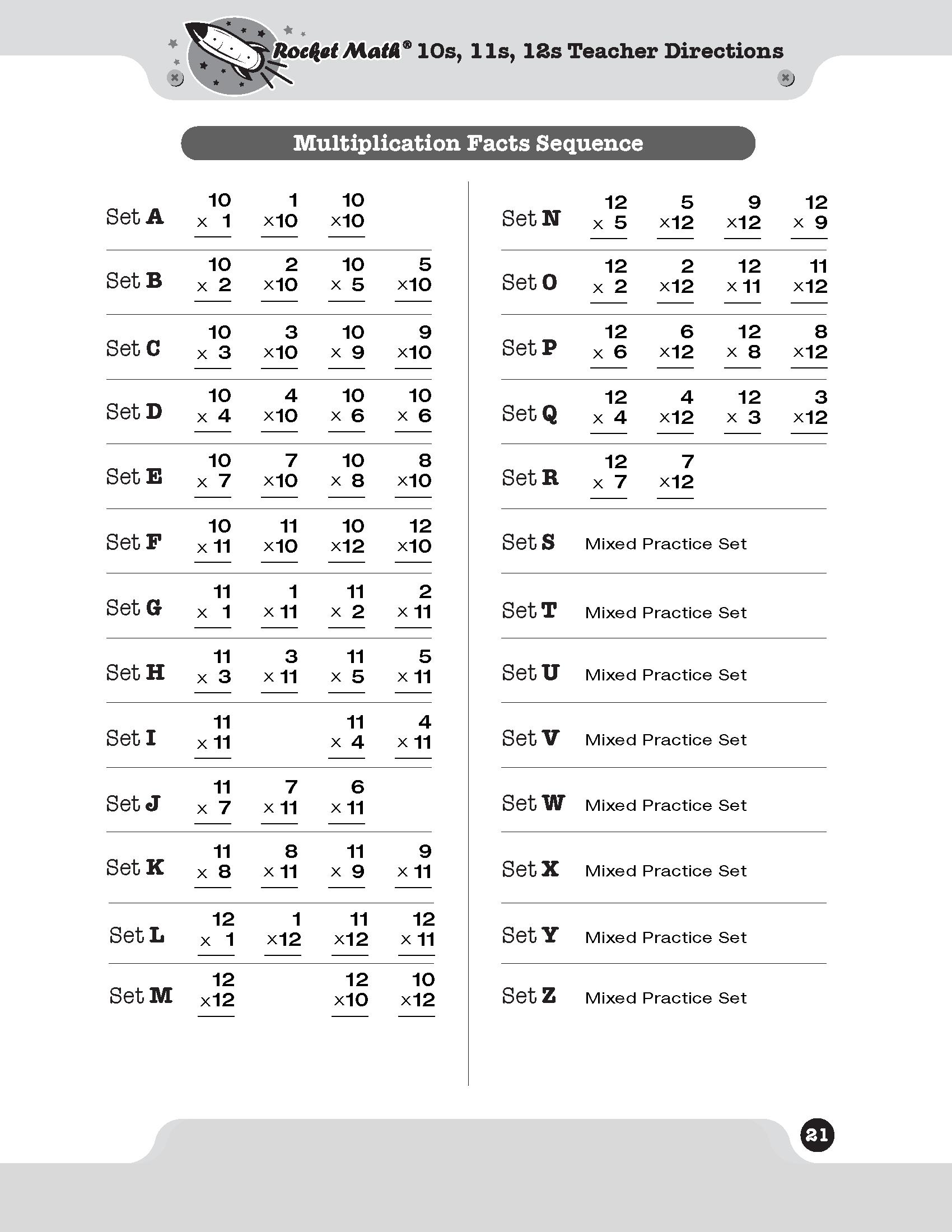Multiplication 10S, 11S, 12S - Rocket Math