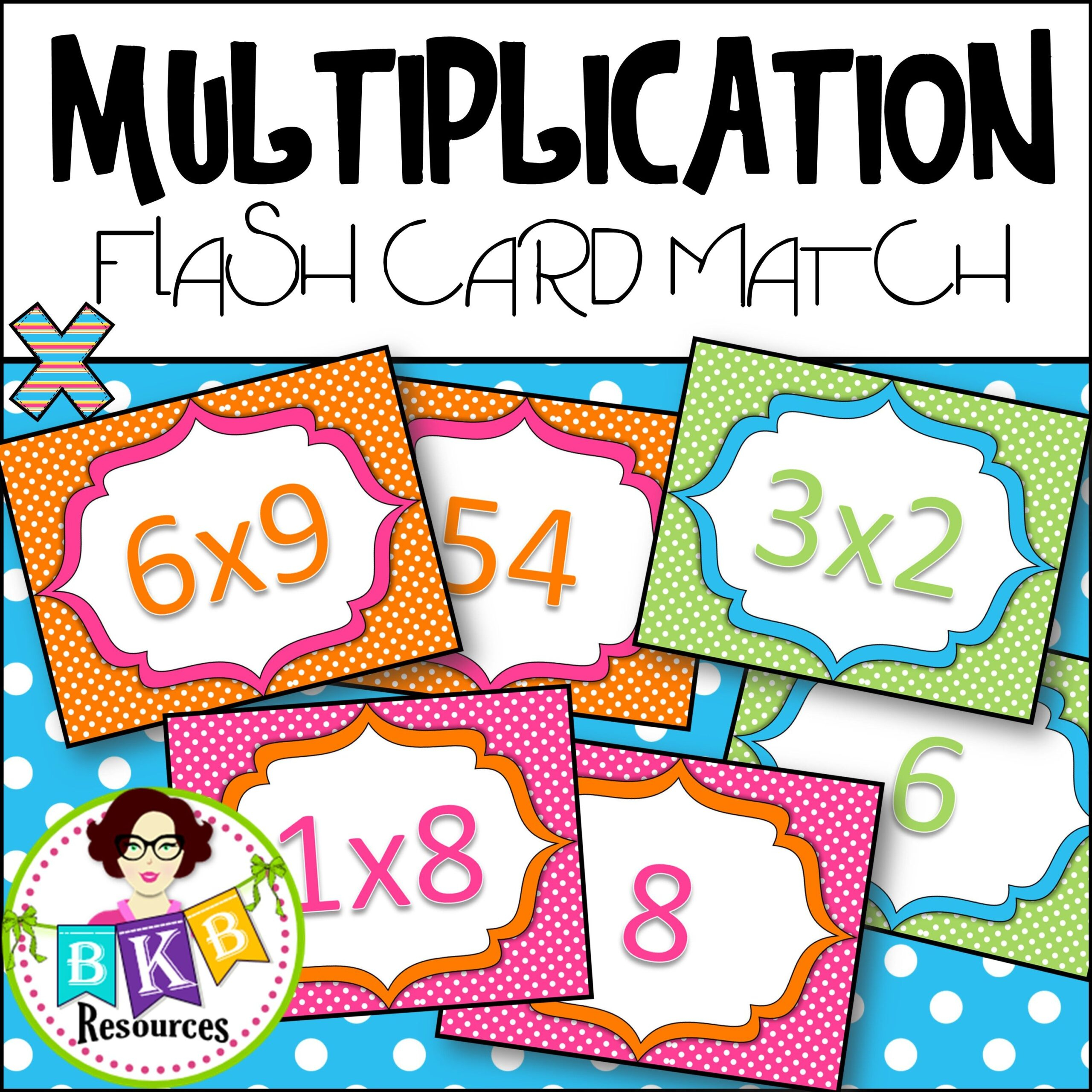 Multiplication Flash Card Match Flashcards Numbers 1-10