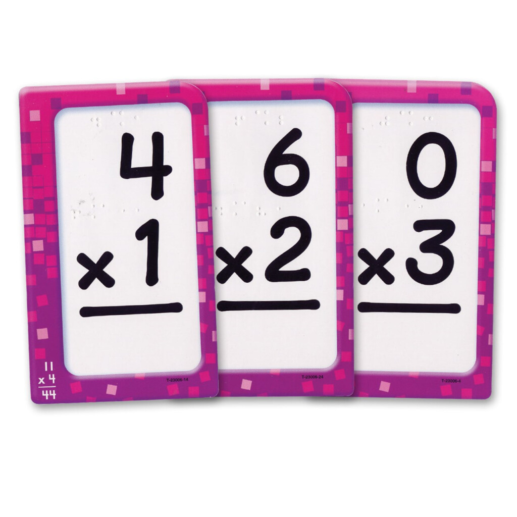 Multiplication Pocket Flash Cards With Braille