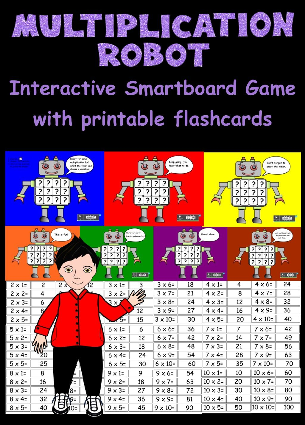 Multiplication Robot, Interactive Smartboard Game And