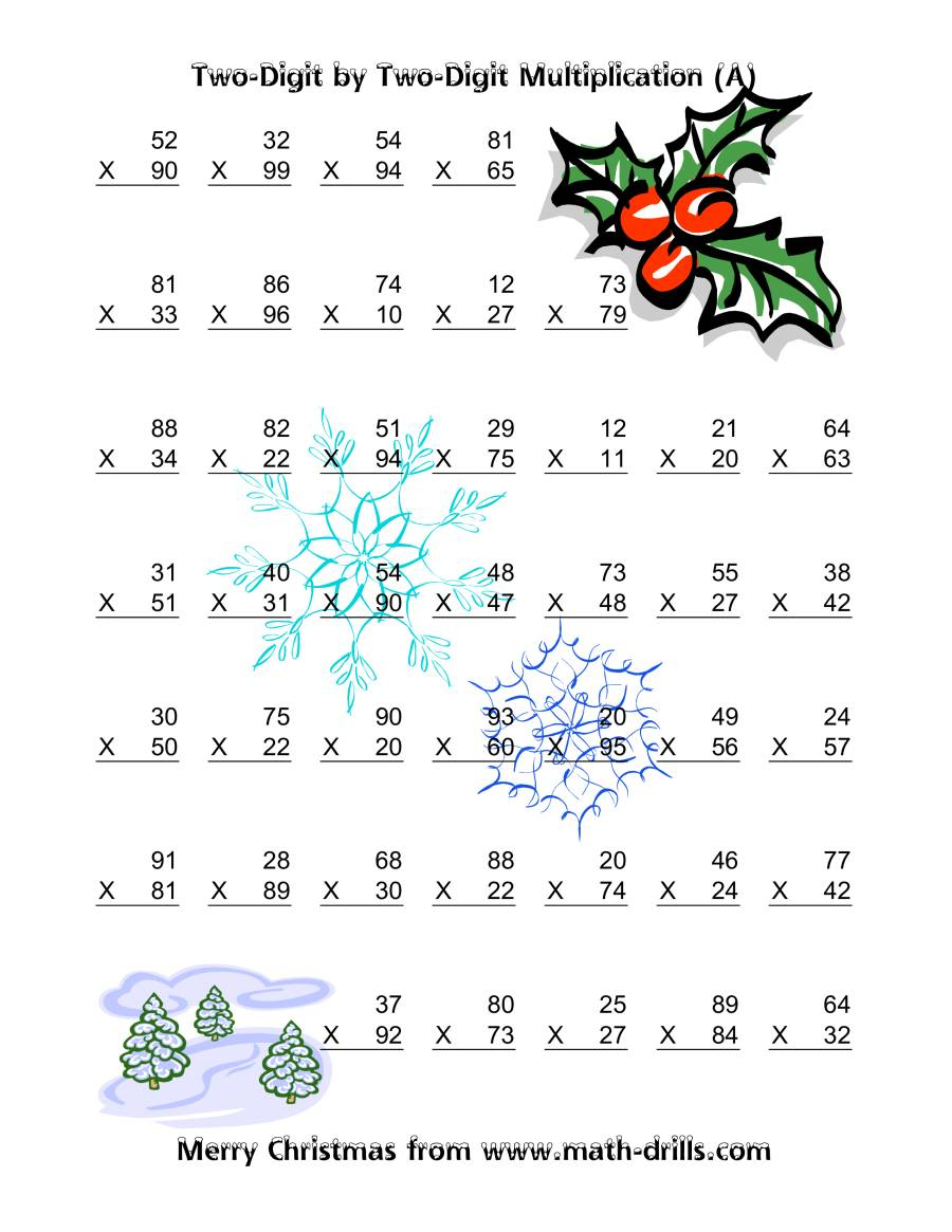 Multiplication Two-Digittwo-Digit (Vertical; 49 Per Page