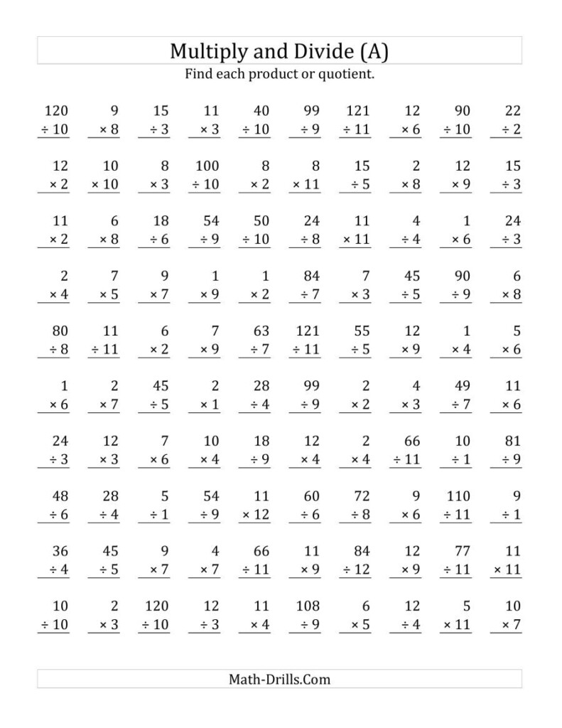 Multiplying And Dividing With Facts From 1 To 12 (A)