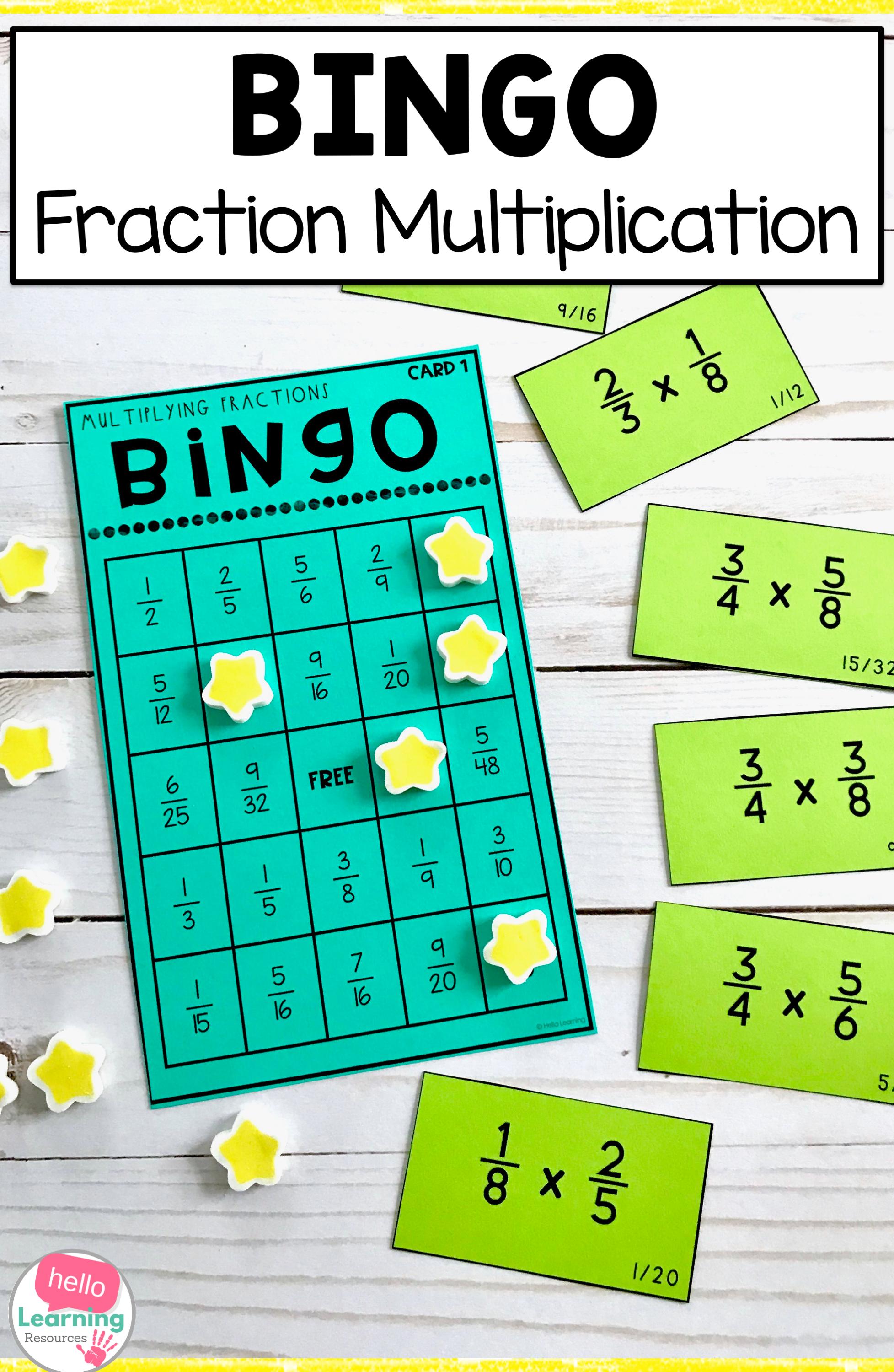 Multiplying Fractions Bingo Game In 2020 | Fractions