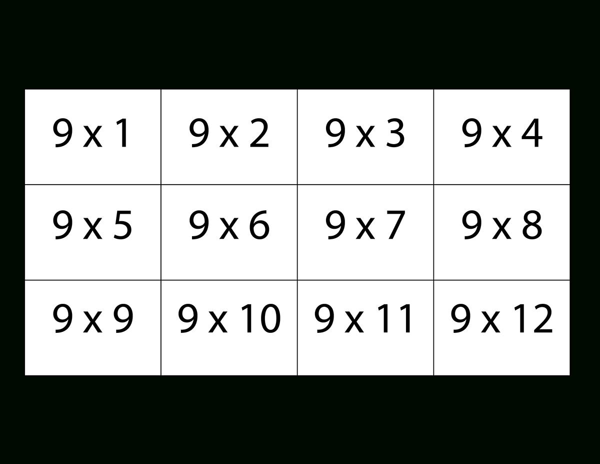 Nine Times Table Flash Cards   Math Flash Cards, Printable