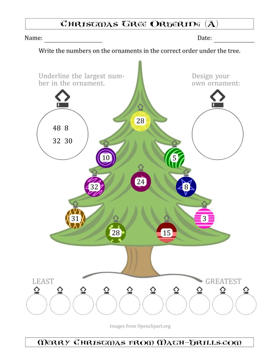 Ordering/sorting Numbers 1 To 50 On A Christmas Tree (A)
