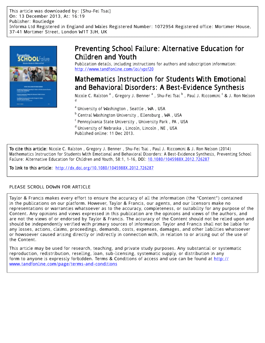 Pdf) Mathematics Instruction For Students With Emotional And