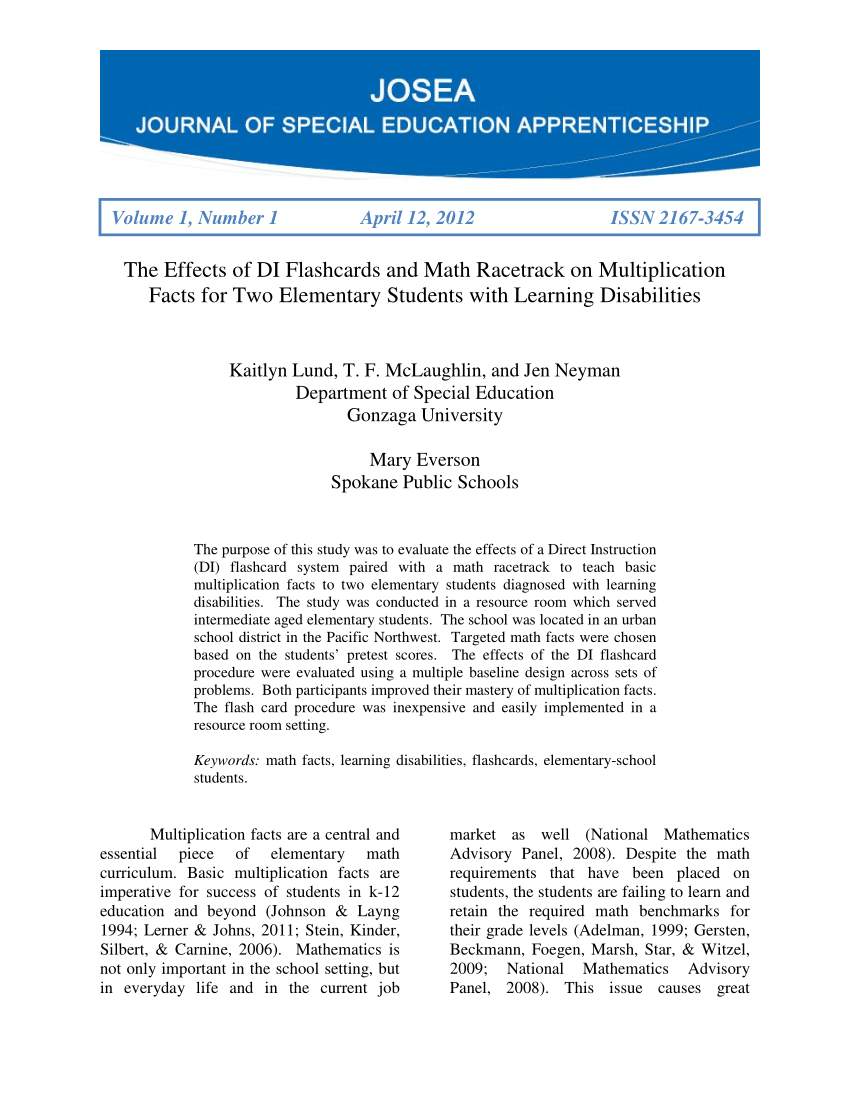 Pdf) The Effects Of Di Flashcards And Math Racetrack On