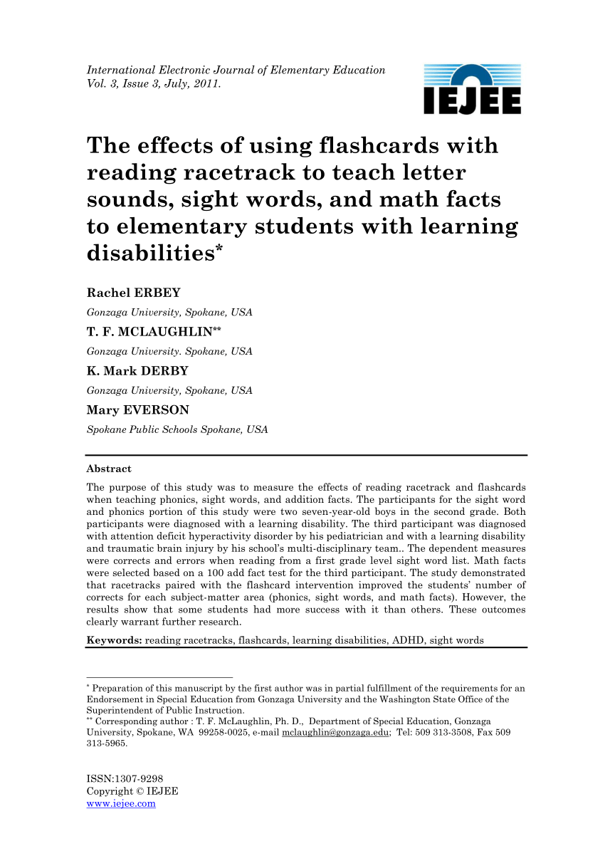 Pdf) The Effects Of Using Flashcards With Reading Racetrack