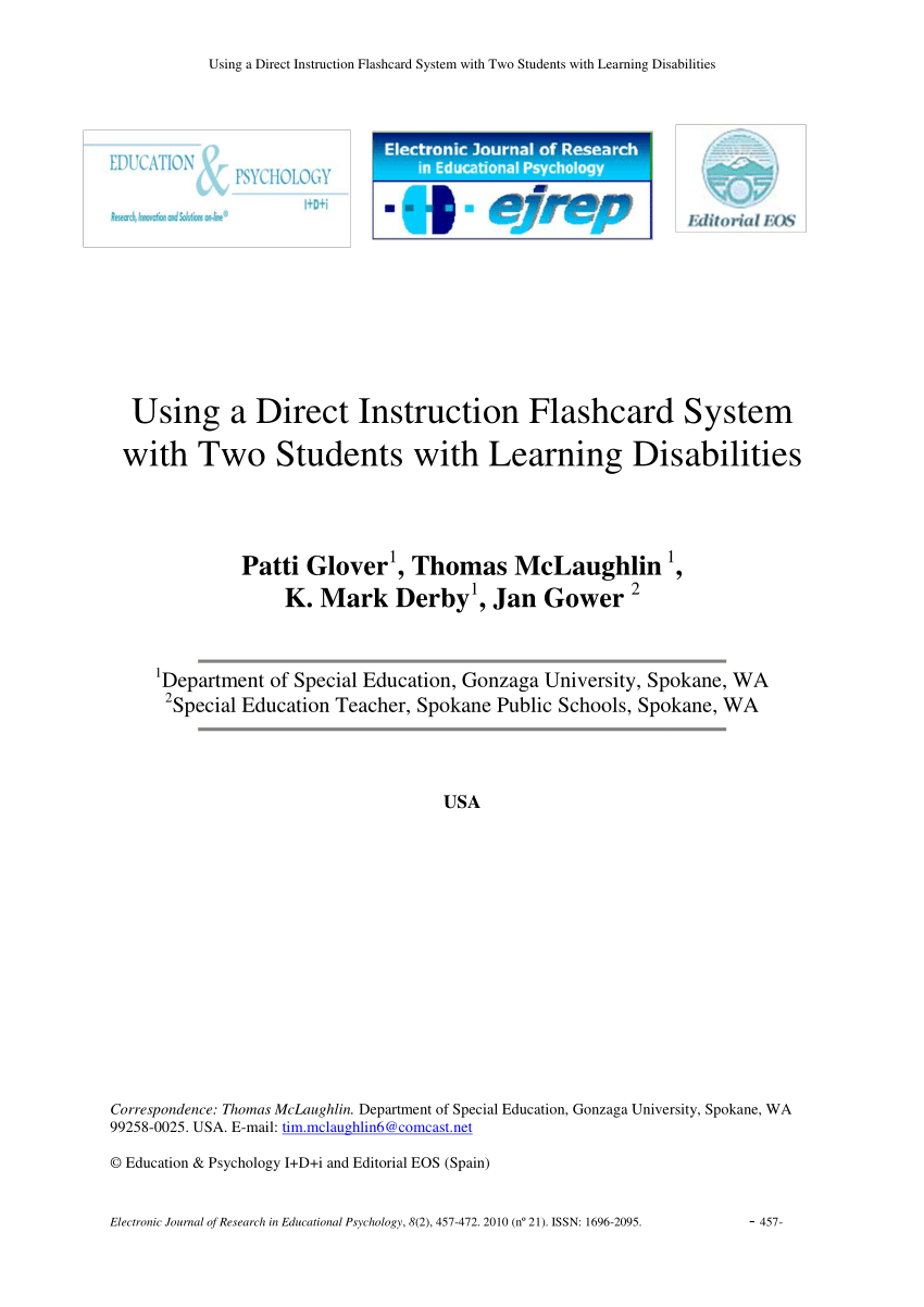 Pdf) Using A Direct Instruction Flashcard System With Two