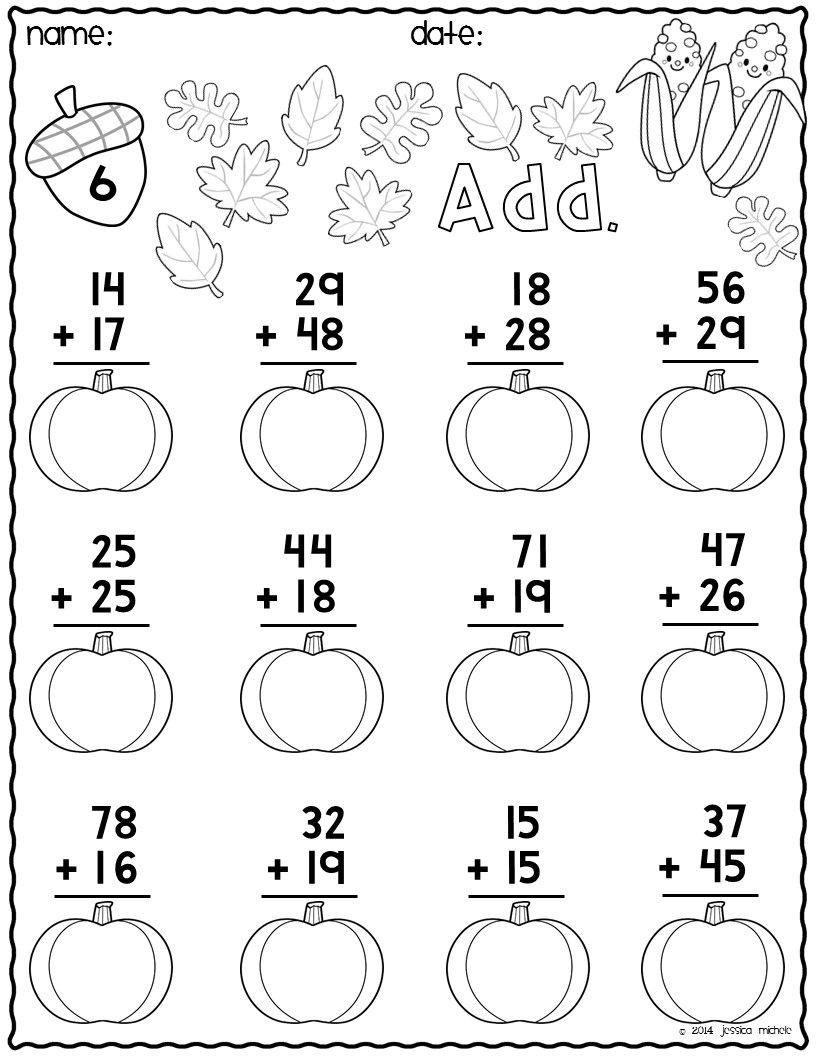 Print & Go Two-Digit Addition Printables {Autumn} | Math