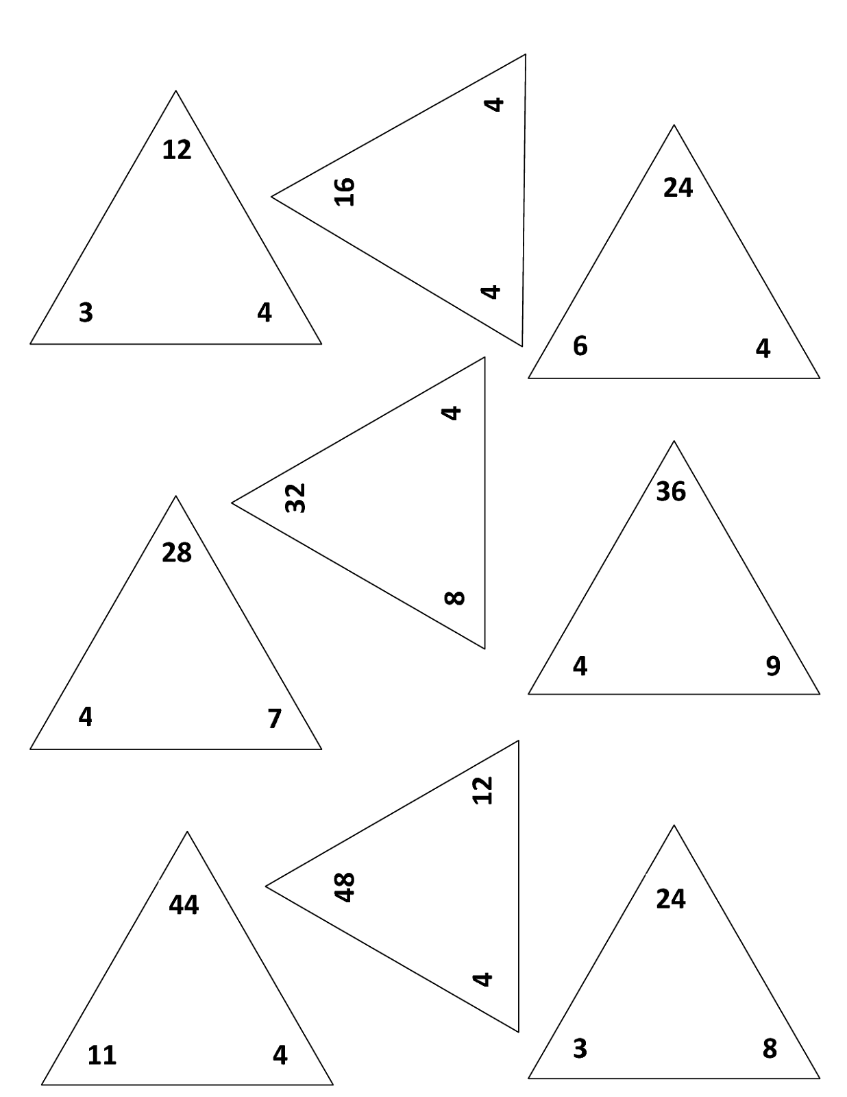 Printable Fact Triangles Worksheets   Activity Shelter