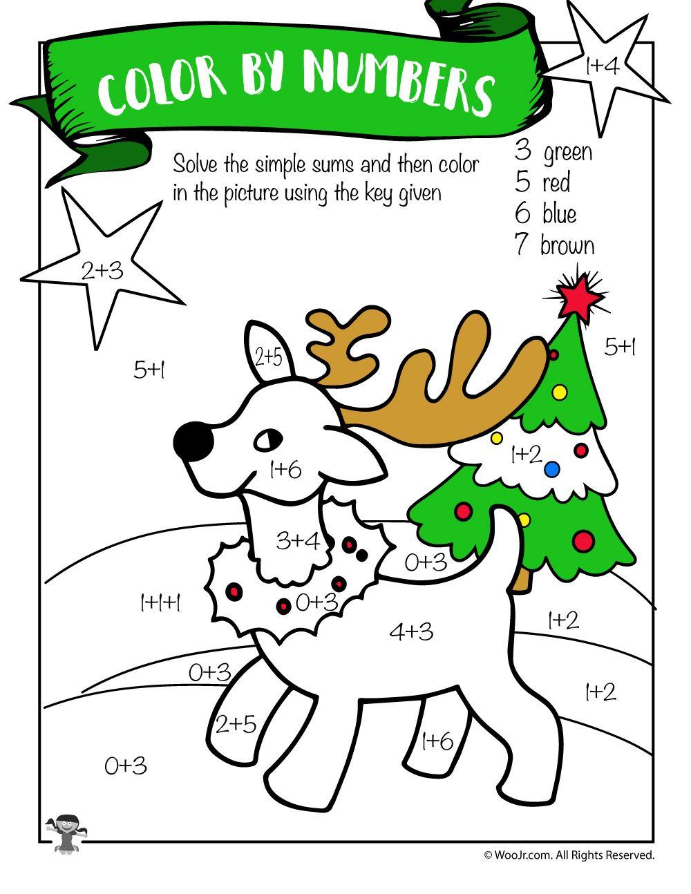 Reindeer Math Addition Coloring Worksheet   Woo! Jr. Kids