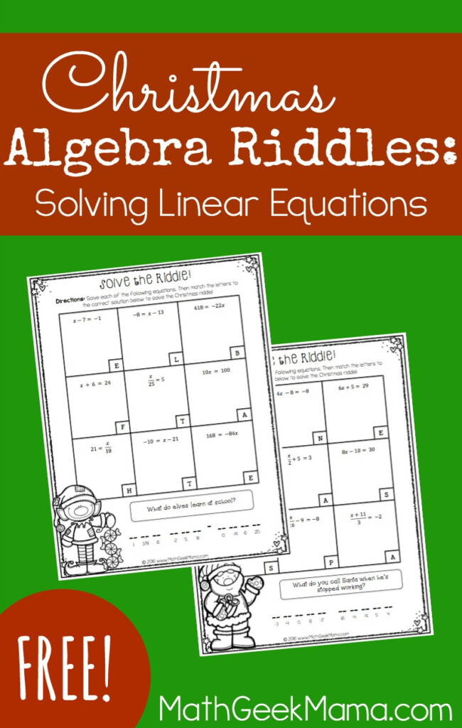 Solving Linear Equations Activity Pages Christmas Theme {Free}