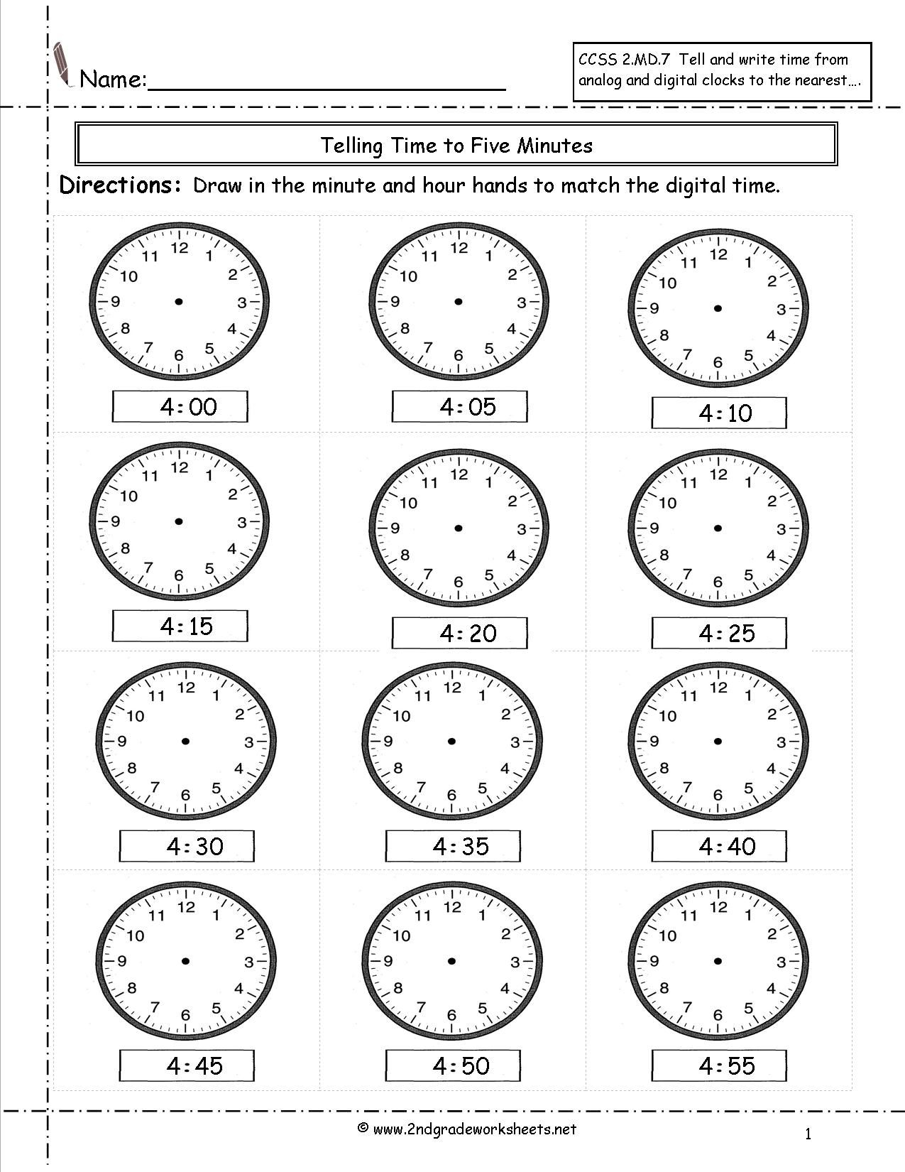 Telling Time Worksheets | Telling Time Worksheets, Time