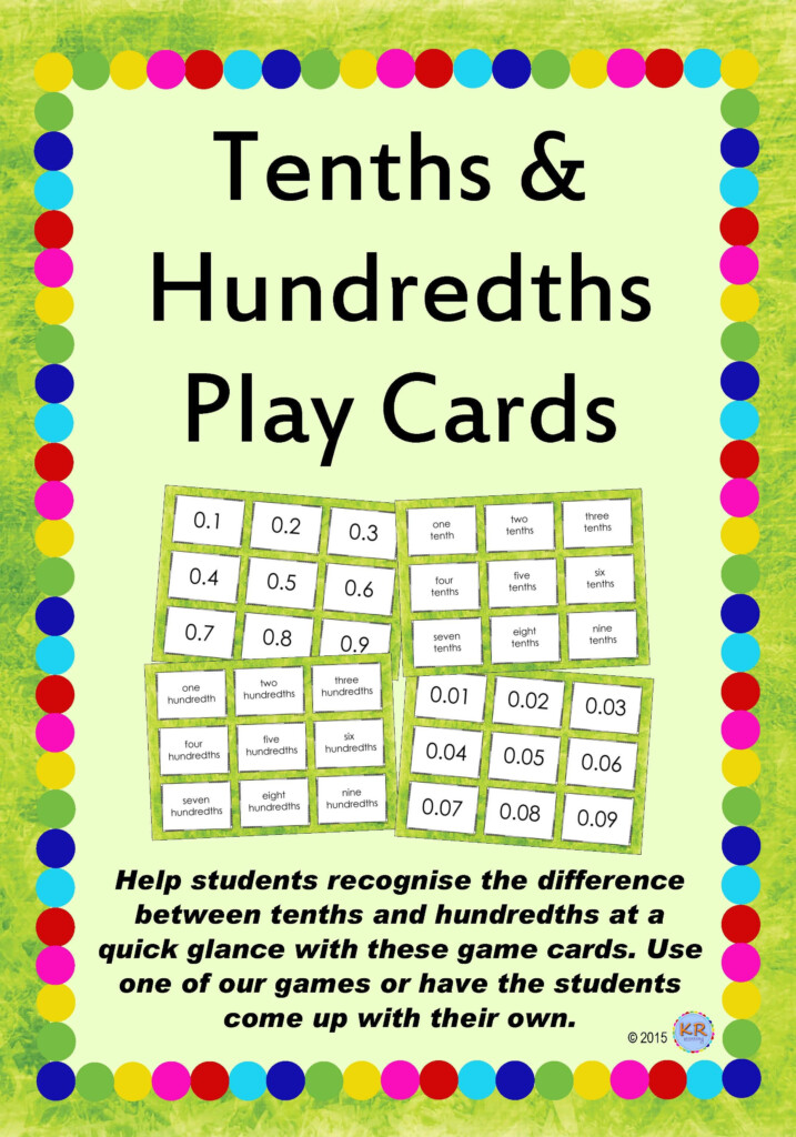 Tenths & Hundredths Game Playing/flash Cards – Free Maths