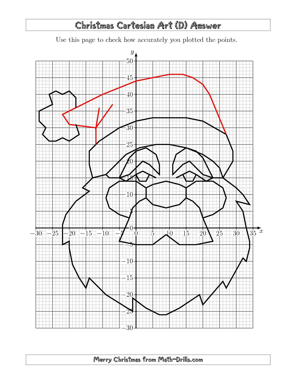 The Christmas Cartesian Art Santa (D) Math Worksheet From