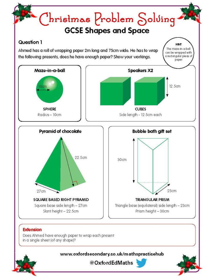 Christmas Maths Worksheets Ks3 Tes