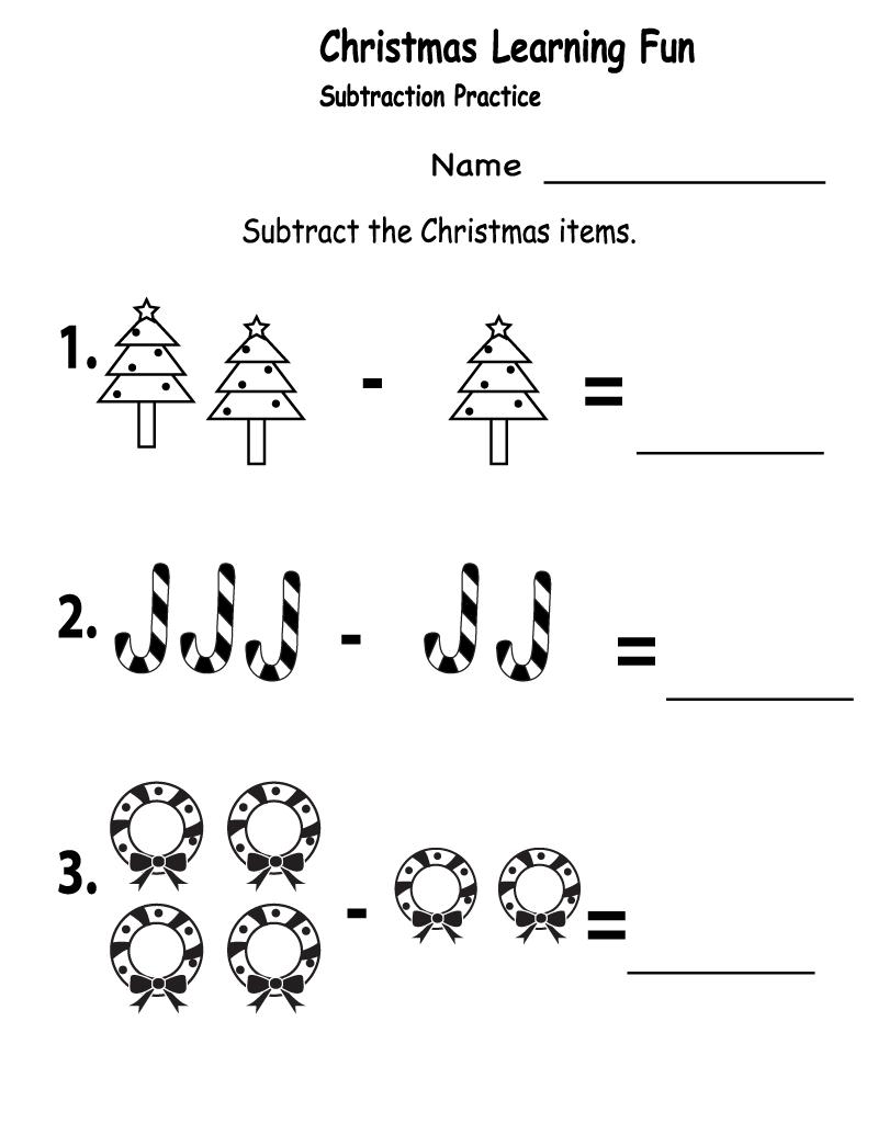 Worksheet ~ Christmas Subtraction 1St Grade Maths Best