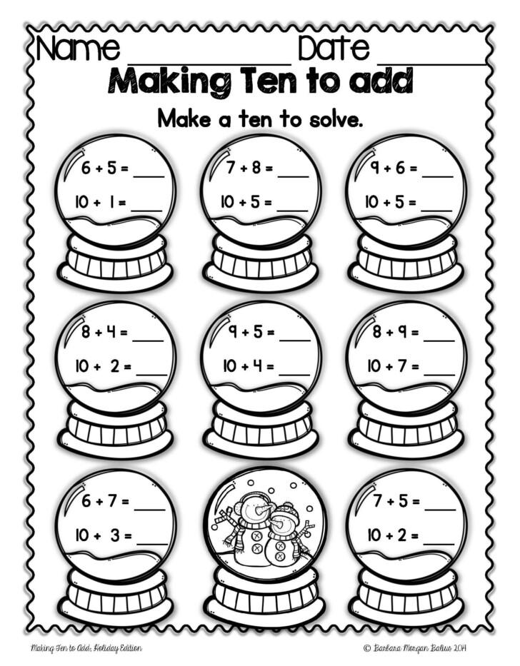 1st Grade Math Christmas Worksheets