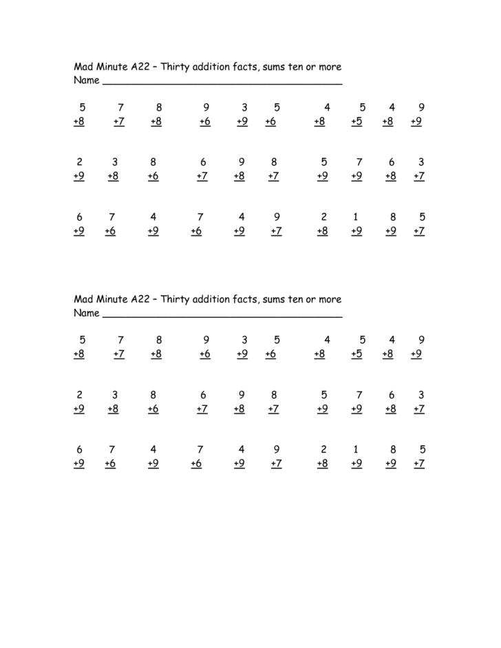 Printable Mad Minute Multiplication