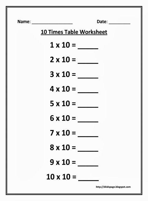 10 Times Multiplication Table Worksheet Kids Math