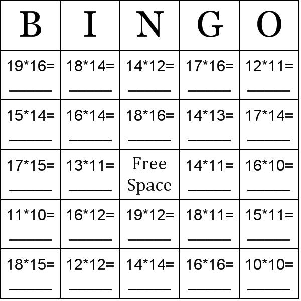 13 Best Images Of Math Bingo Worksheet Multiplication