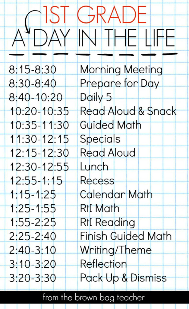 1st Grade Schedule A Day In The Life First Grade