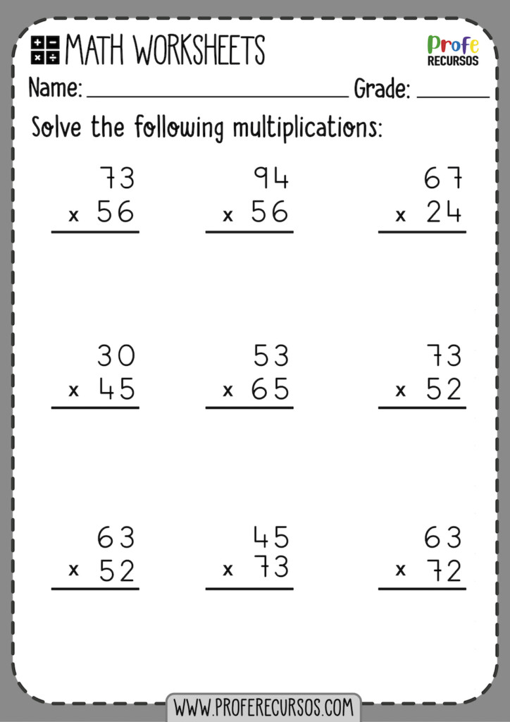 2 Digit By 2 Digit Multiplication Worksheets