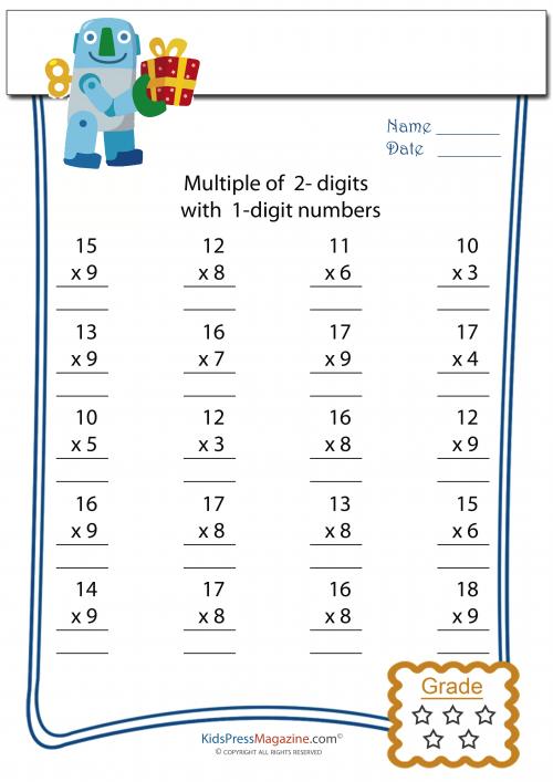 2 Digit Multiplied By 1 Digit Worksheet 4