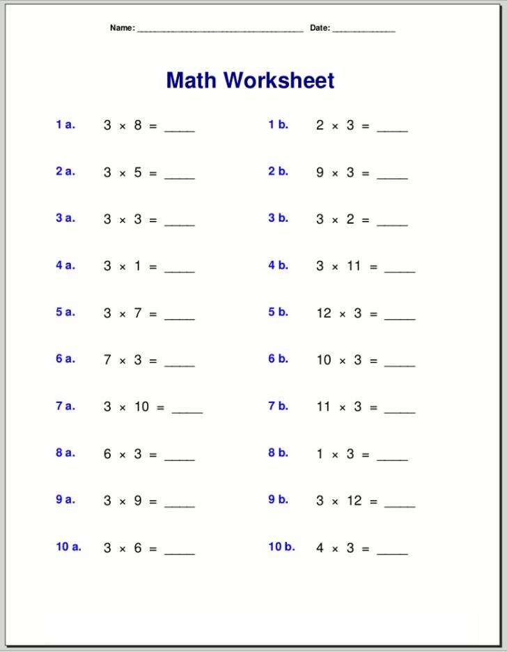 Printable Multiplication 3's