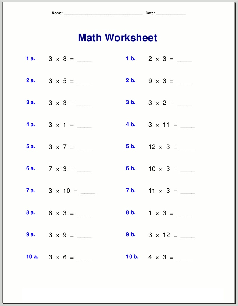 3 Times Table Worksheets To Print Activity Shelter