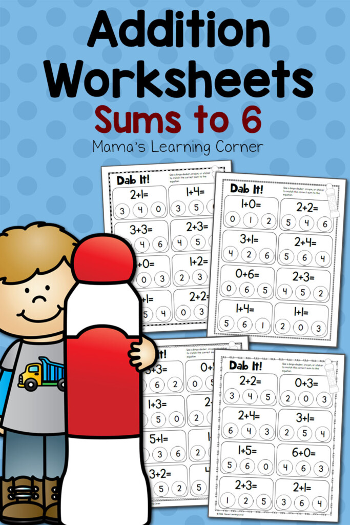 Dab It Addition Worksheets Sums To 6 Mamas Learning