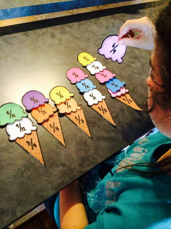 Equivalent Fractions Ice Cream Match Fractions Math