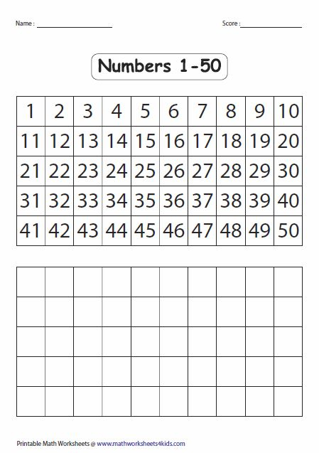 Fill In The Blank Number Chart 1 50 10 Best Images Of