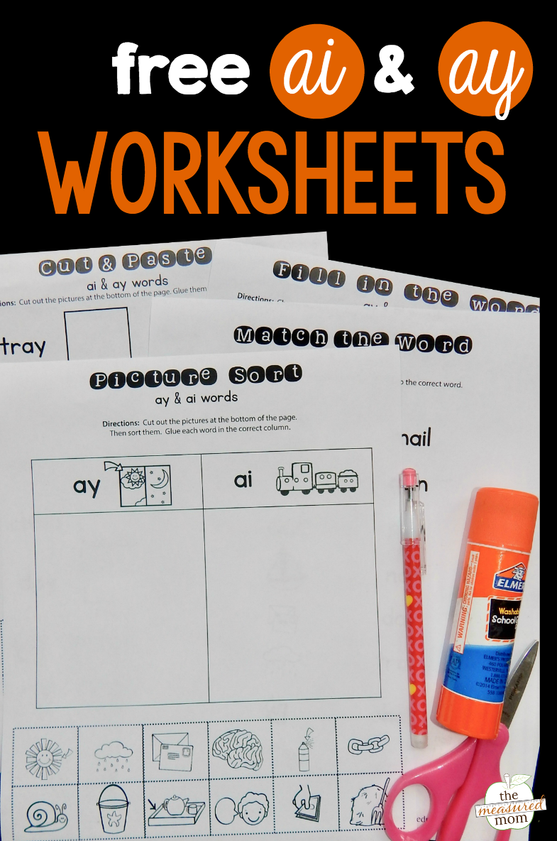 Free Ay Ai Worksheets The Measured Mom