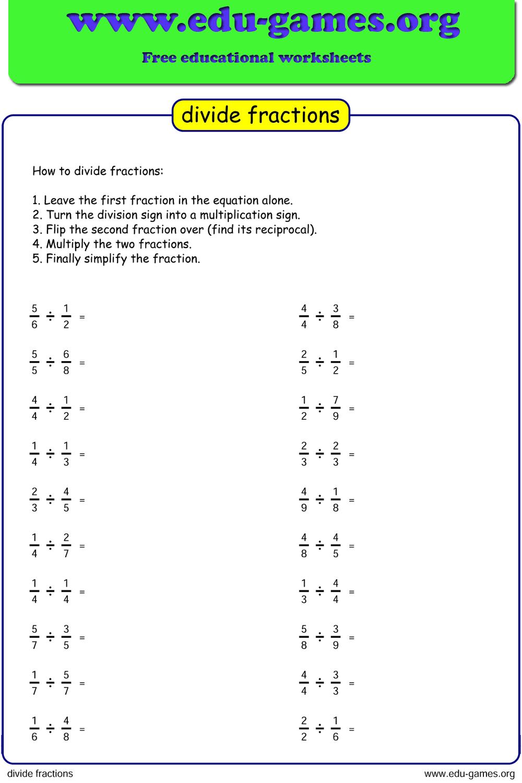 Free Dividing Fraction Worksheet Printable Pdf Worksheets