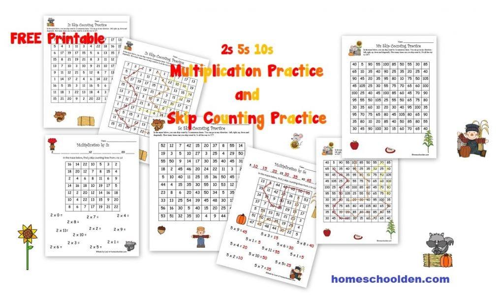 Free Fall Multiplication Worksheets 2s 5s 10s Homeschool Den