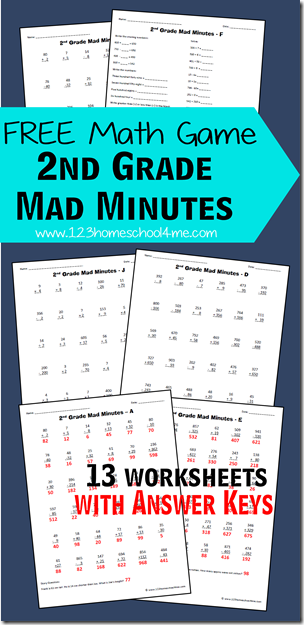 Free Math Games 2nd Grade Mad Minutes Free Homeschool