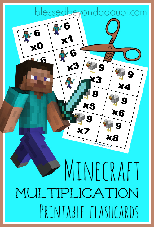 Free Minecraft Multiplication Printable Flashcards Money
