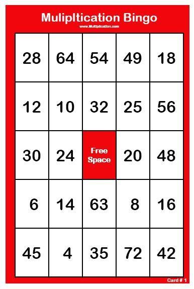 Multiplication Bingo Printable