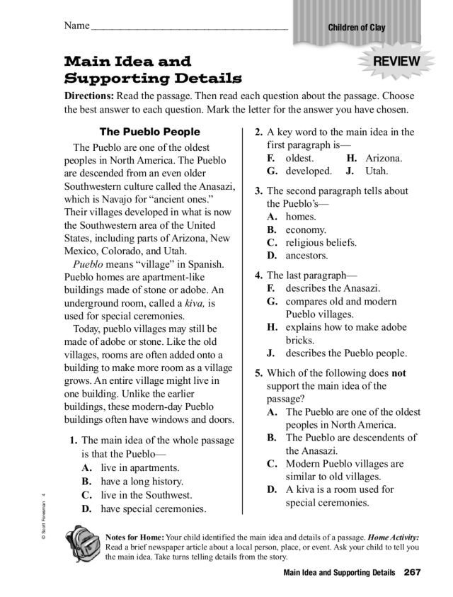 Main Idea And Supporting Details Worksheet For 3rd 5th