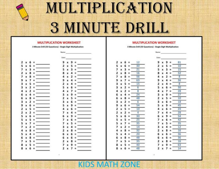 Printable 5 Minute Multiplication Drill
